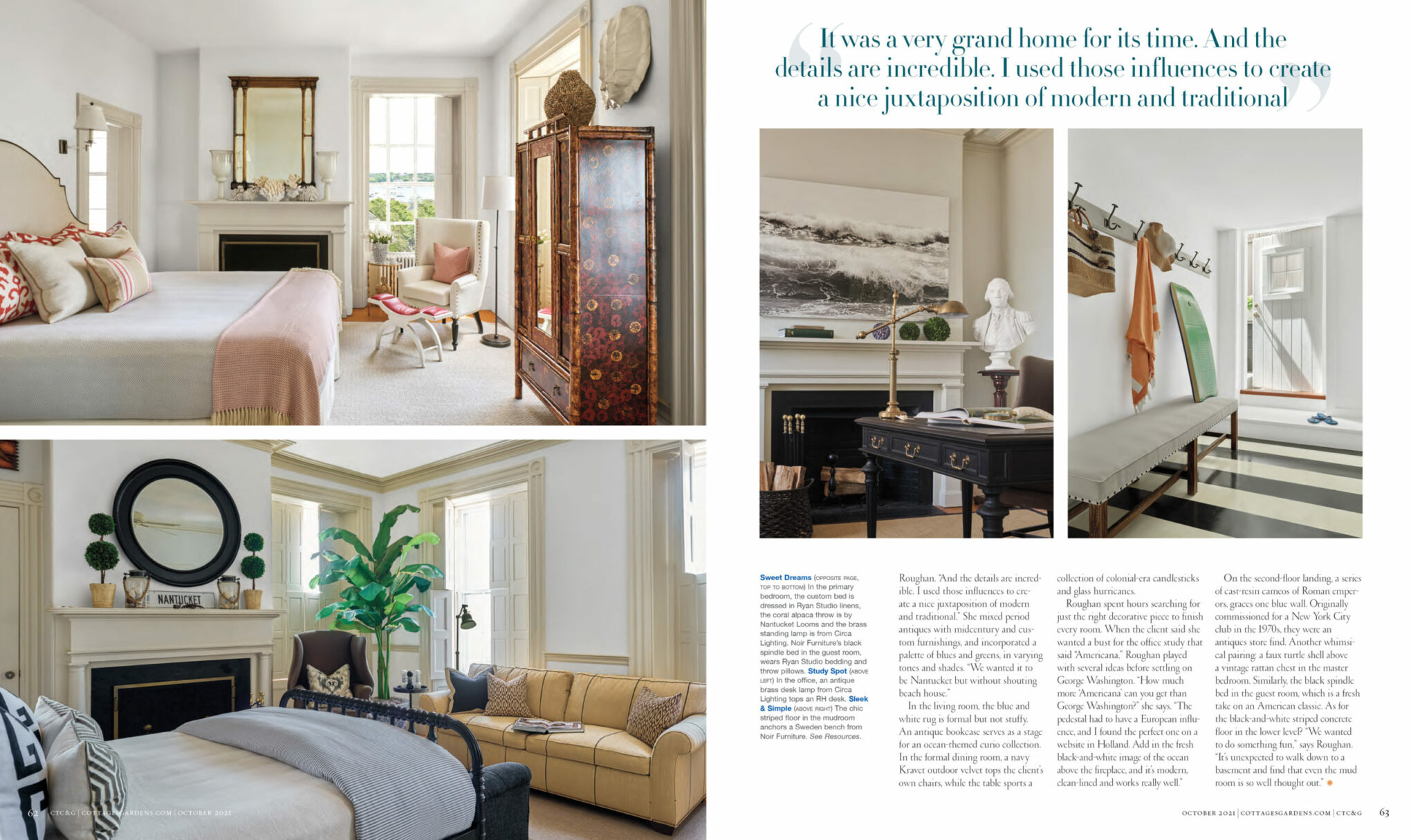 magazine spread featuring Roughan Interiors